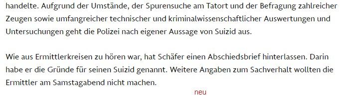 Lettera di addio di Schäfer