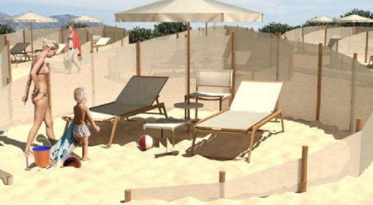 spiaggia teli bambù