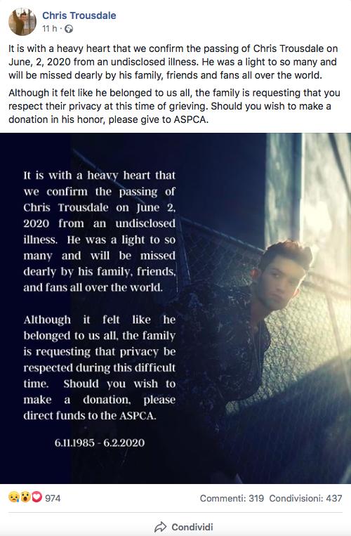 Chris Trousdale morto