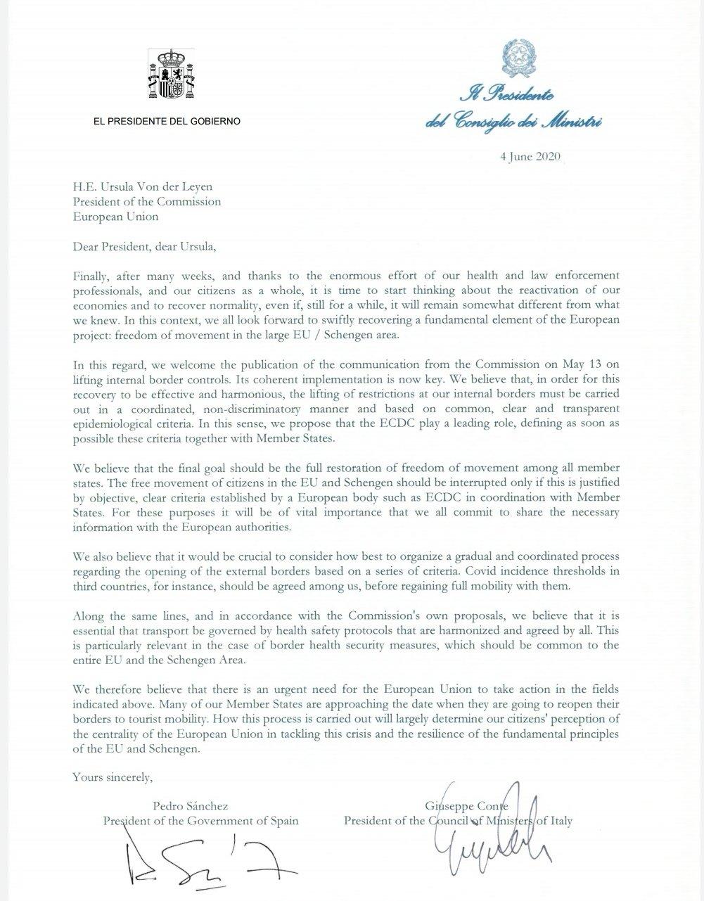 Conte e Sanchez, la lettera