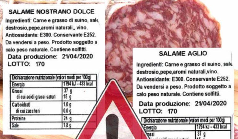 Richiamato lotto di salame, rischio salmonella