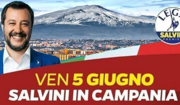 Salvini: locandina con l'Etna in Campania, ma forse è un fake