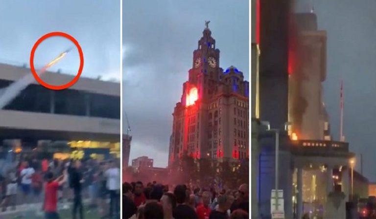 tifosi liverpool incendiano grattacielo