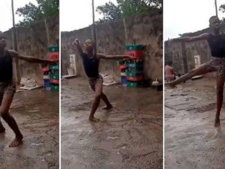 bambino che balla sotto la pioggia
