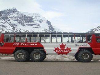 Uno dei tanti Ice Bus che fanno la spola sull'Athabasca