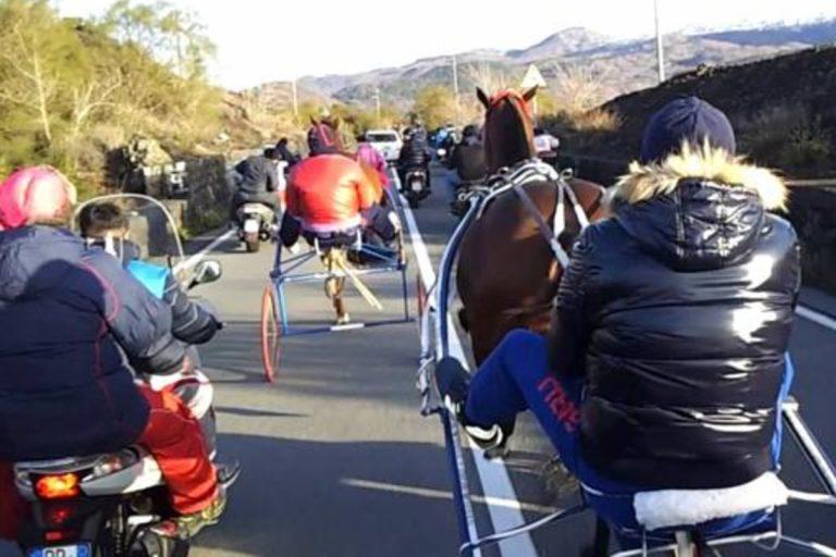 corse clandestine cavalli sull'etna
