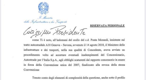 Lettera De Micheli