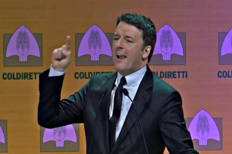 Matteo Renzi durante l'assemblea dei soci Coldiretti in cui difese il taglio dei parlamentari