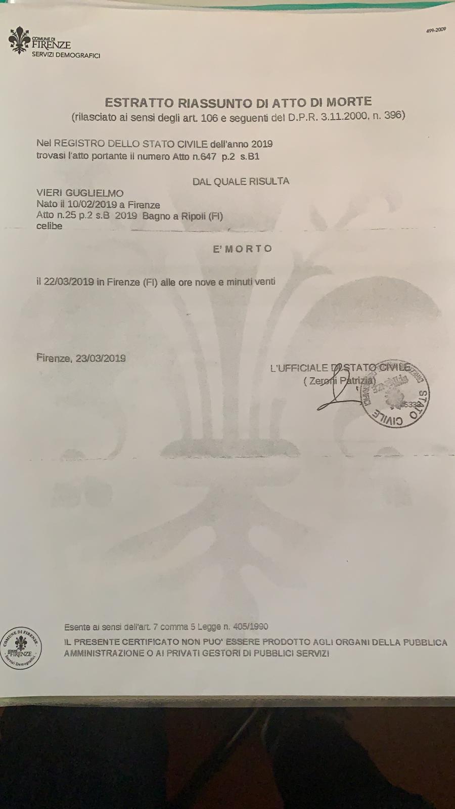 certificato di morte