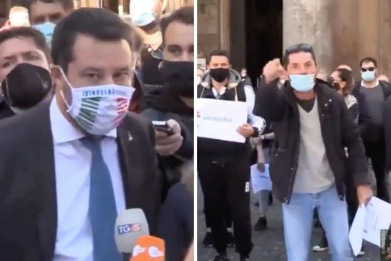 Salvini contestato ristoratori in piazza