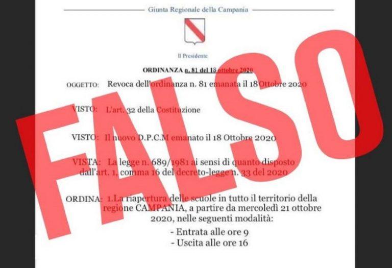 falsa ordinanza della Regione Campania