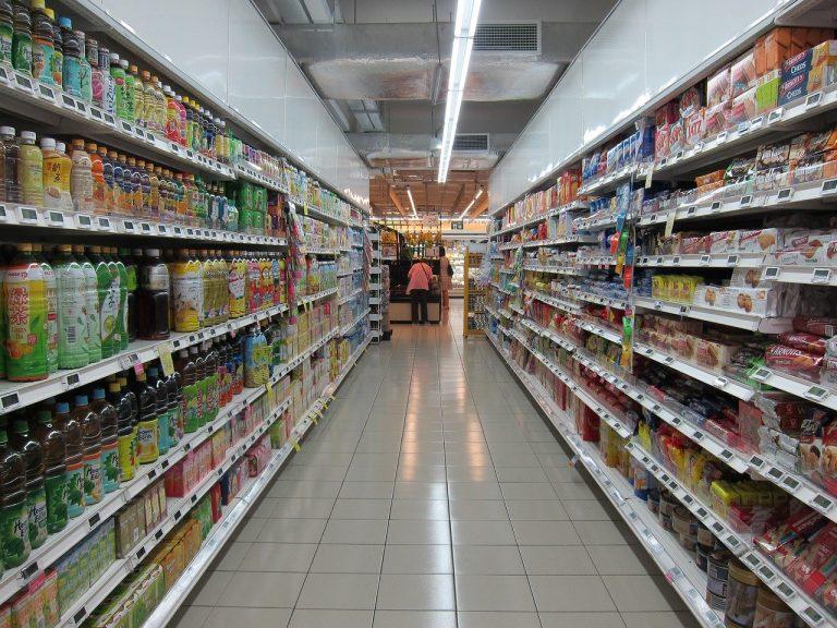 illustrazione degli scaffali di un supermercato