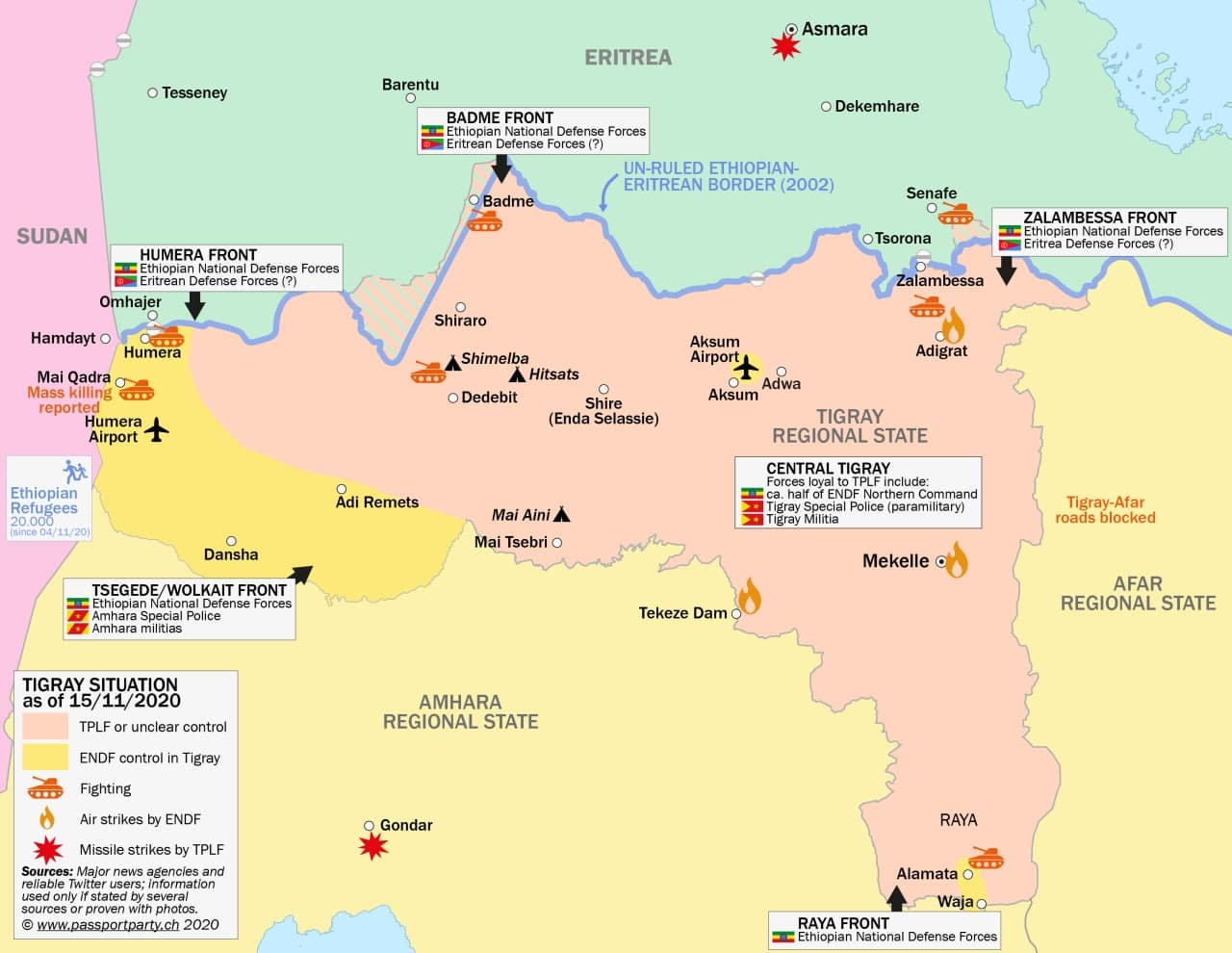 Infografica sulla guerra del Tigray
