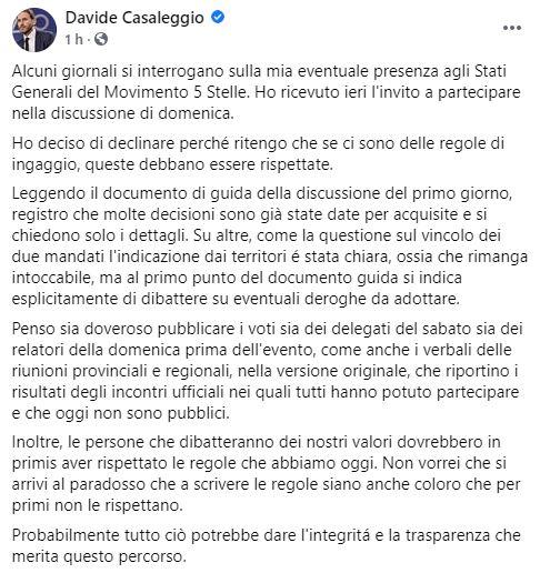 Post Facebook Casaleggio