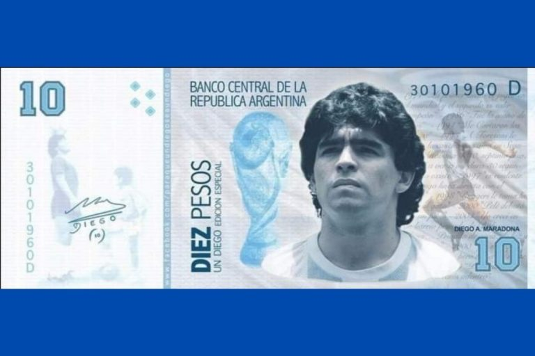 volto Maradona banconota 10 pesos