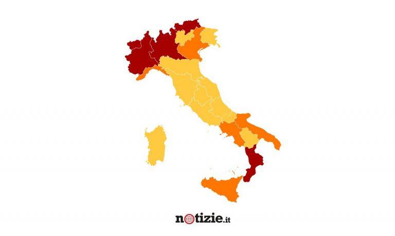 zona rossa arancione gialla italia grafica