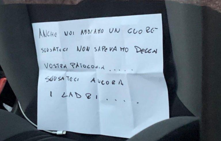 Auto rubata a Bari, le scuse dei ladri