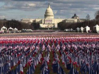 Washington, 200mila bandiere Usa per l'insediamento di Biden