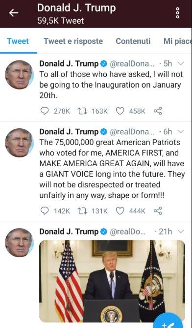 post su Twitter di Trump