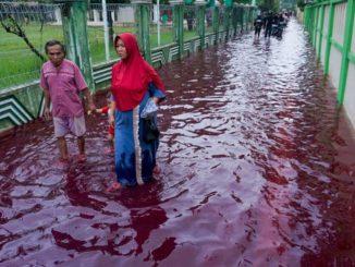 Indonesia, paese si tinge di rosso a causa dell'inondazione di una fabbrica