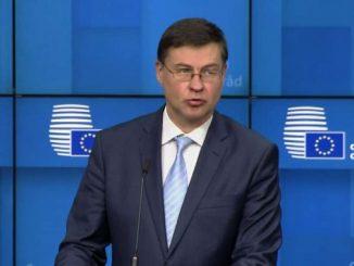 Ue, Dombrovskis: economia tornerà a livelli prepandemia nel 2022