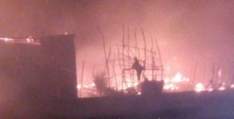 incendio baraccopoli Caserta