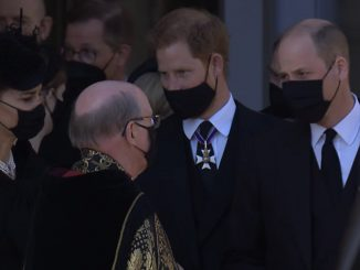 Kate Middleton e i principi William e Harry al funerale di Filippo