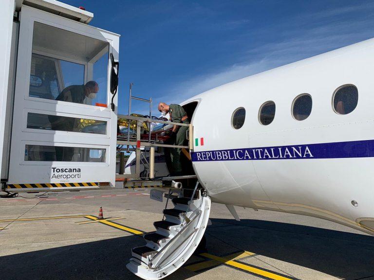 Il volo militare utilizzato per il trasporto della neonata