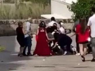 Un frame del video sulla rissa