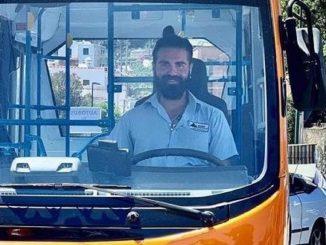 Emanuele Melillo alla guida di uno dei mezzi che conduceva