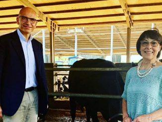 Il Segretario del Pd Enrico Letta con la candidata del Pd alla Regione Calabria Amalia Bruni