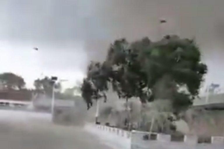 Un frame del video sul tornado nell'Hebei