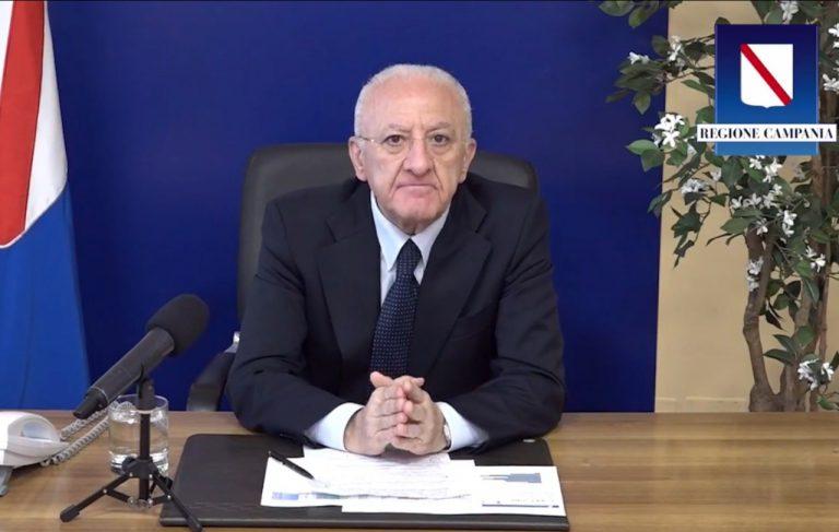 De Luca parla dei casi di Covid-19 in Campania