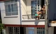 Amante fugge dal balcone