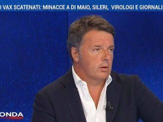 Matteo Renzi durante il suo intervento a In Onda