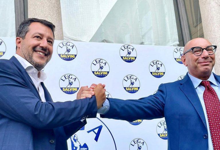 Matteo Salvini con Luca Bernardo, candidato sindaco del centrodestra a Milano