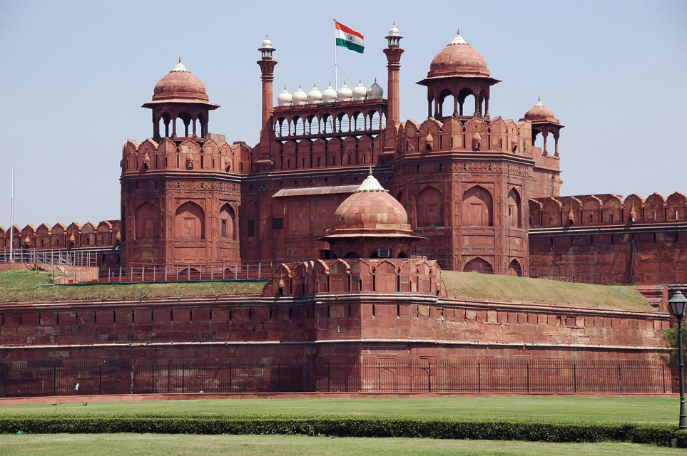 DEL Delhi Red Fort Lahore Gate with Indian flag 3008x2000